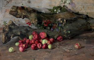 Still life with log and both red and green apples